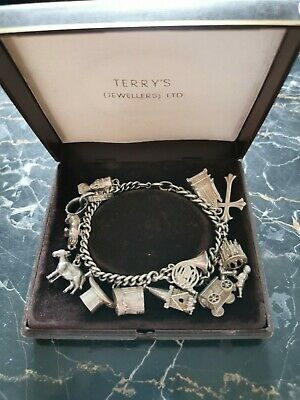 Stunning Vintage Solid Silver Charm Bracelet 15 Charms 40.04g • 36£