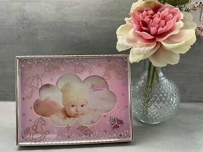 £6.90 • Buy Baby Girl Pink  Cube Photo Frame Cloud Design With Diamanté Stars 6 X 4 29096