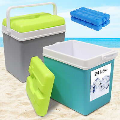 £14.99 • Buy Large 24L Insulated Cooler Box Camping Drinks Ice Festival Beach Picnic Travel