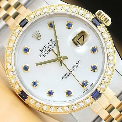 $6799 • Buy Rolex Mens Datejust 2 Tone Mother Of Pearl Sapphire Dial Quickset Diamond Watch