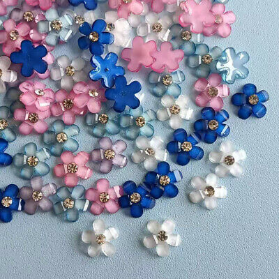$4.27 • Buy 60 Pieces Resin Rhinestone Flowers Flatback Buttons Cabochons Decorations 8 Mm