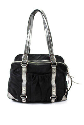 AU65.53 • Buy MZ Wallace Womens Metallic Leather Medium Shoulder Bag Black Silver
