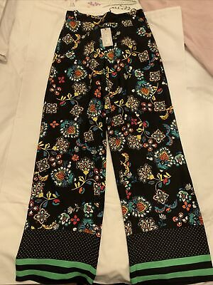 River Island ~ Black Floral Palazzo Trousers ~ Size 10 ~ New • 20£