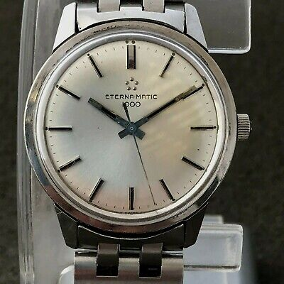Collectable Automatic Eterna Matic 1000 Mens Watch Original Dial Crown Bracelet • 183.87£