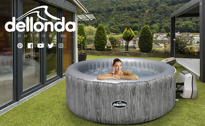 Dellonda 4-6 Person Inflatable Hot Tub Spa With Smart Pump - Wood Effect • 430£