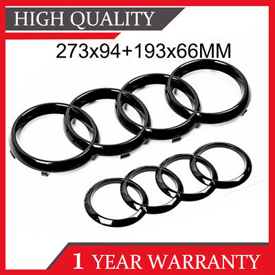 £12.59 • Buy 2X Black Gloss For Audi Front & Rear Grille Badge Rings Logo Emblem A3 A4 A5 A6
