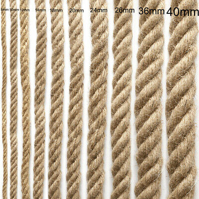 £6.95 • Buy 6-40mm Thick Natural Brown Jute Thread Rustic Twin String Hemp Rope Cord Garden