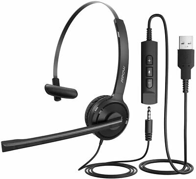 £16.99 • Buy Mpow Computer PC Headset 3.5mm/USB Noise Cancelling Wired Call Center Headphones