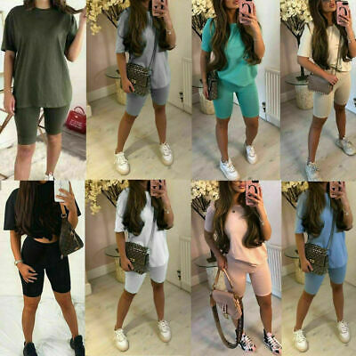 £9.90 • Buy Ladies Oversize T Shirt Cycling Shorts Co Ord Womens Lounge Wear Tracksuit Set