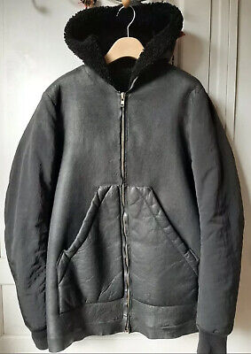 RICK OWENS Black Shearling Lined Leather Nylon Down Sleeve Jacket • 400£