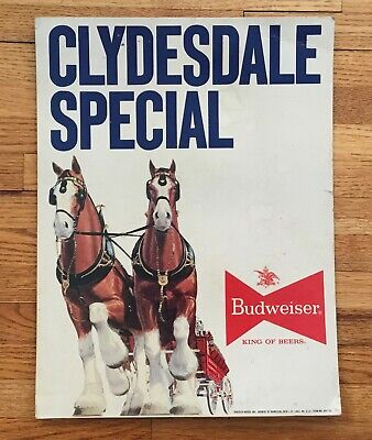 $ CDN22.53 • Buy Old Budweiser Beer Sign Clydesdale Special St Louis MO Cardboard Advertising