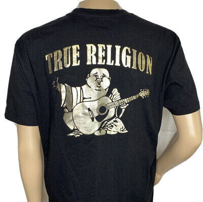 True Religion T-Shirt Foil Graphic Tee Big Buddha Horseshoe Crew SS Men XL Black • 19.09£