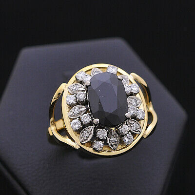 AU1226.85 • Buy Vintage Ring Gold 18 Carats Sapphire 3 CT Diamonds 0.48 Natural Doesn'T Treated
