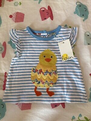 Baby Girl Boden Tshirt 0-3 Months BNWT Easter Chick • 3£