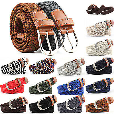£4.79 • Buy Womens Elastic Stretch Braided Belts Pin Buckle Webbing Jeans Trousers Waistband
