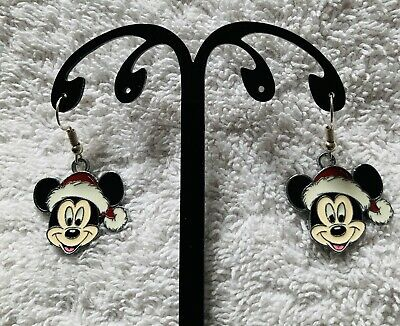 AU3.58 • Buy Unwanted MICKEY MOUSE SANTA Inspired EARRINGS Father Christmas Free Gift Bag