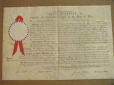 $155 • Buy Maine Civil War Commission Fort Fairfield 15th Maine Volunteers Sgd By Governor