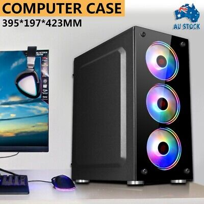 AU51.99 • Buy PC Gaming Computer Case Tempered Glass ATX/ M-ATX/Mini-ITX Tower Desktop Casing