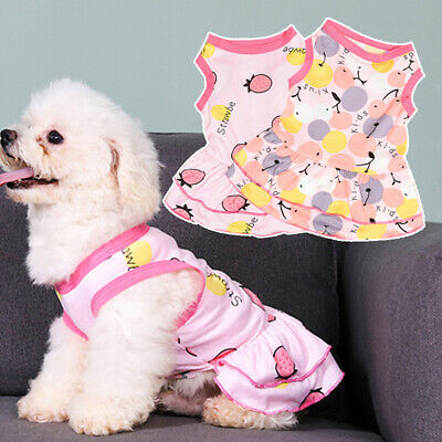 Summer Wear Small Dog Cat Dresses Puppy Strawberry Printed CartoonT-Shirt Vest  • 3.55£