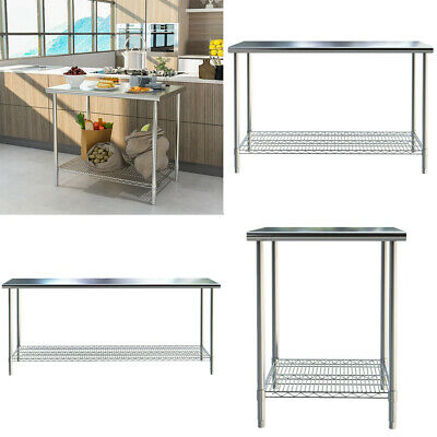 £195.95 • Buy Stainless Steel Commercial Kitchen Work Table Bench Catering Worktop Mesh Shelf