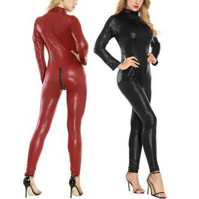 £16.49 • Buy Womens Leather Bodycon Sexy Bodysuit Catsuit Jumpsuit Lingerie High Elasticity