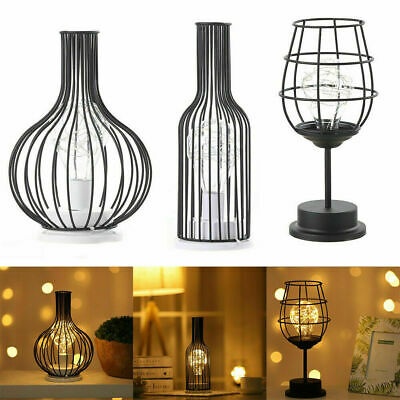 £12.98 • Buy UK Metal Cage Vintage Retro Table Lamp Wire Bedside Night Light Battery Operated