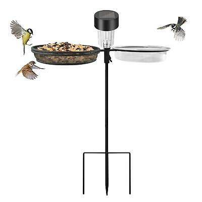 £14.95 • Buy Solar Wild Bird Feeder Pole Water Bath Spa Table Garden Feeding Station New