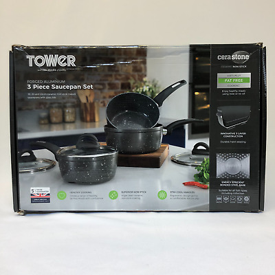 Tower T81212 Saucepans Set Graphite With Lid Cerastone Ceramic Coating 3 Pieces • 48.98£