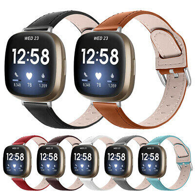 $ CDN12.03 • Buy For Fitbit Versa3/Fitbit Sense Breathable Business Soft Leather Watch Band Strap
