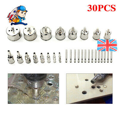 30pc Diamond Cutter Coated Core Hole Saw Set Holes Saw Drill Bit Tile For Glass • 14.98£