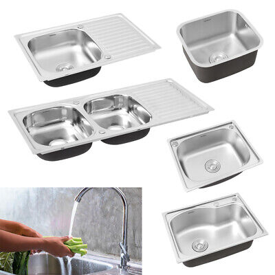 Single/Double Bowl Square Inset Stainless Steel Kitchen Sink Hand Drainer &Waste • 43.14£