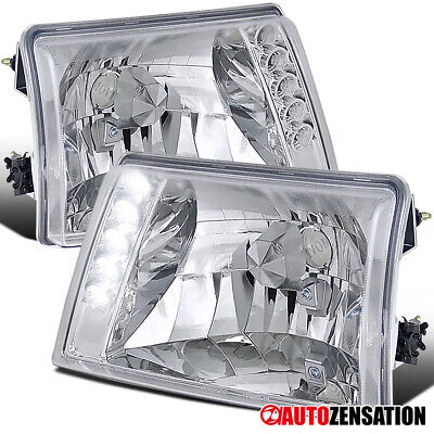 $56.99 • Buy For 1998-2000 Ford Ranger LED Strip Clear Headlights Head Lamps Left+Right 1999