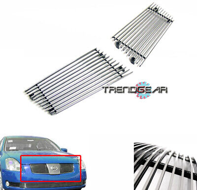 $34.95 • Buy Front Main Upper Billet Grille Aluminum Polished 2pcs For 04 05 06 Maxima Se Sl