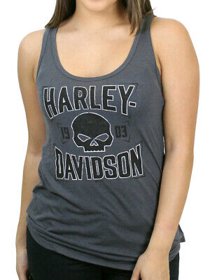 $ CDN24.17 • Buy Harley-Davidson Ladies Quick Dry Willie G Skull Shield Charcoal Grey Tank Top