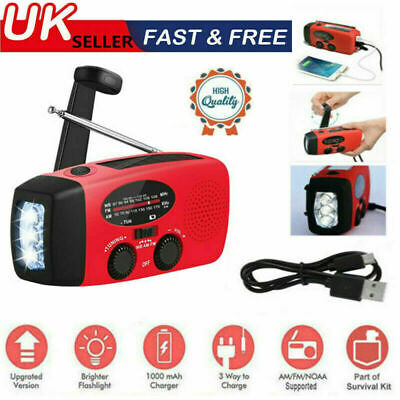 £13.99 • Buy Portable AM FM Hand Crank Solar Wind Up Radio Dynamo USB Charger Light Gift UK