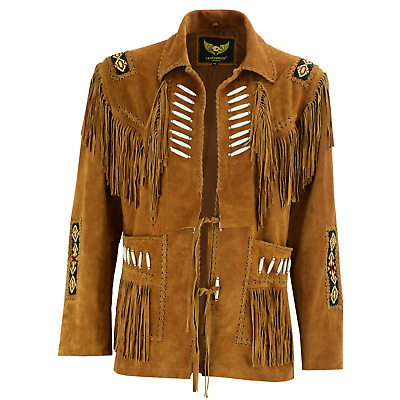 $129.98 • Buy Leatherick Mens Western Cowboy Suede Leather Jacket Brown Coat With Fringes