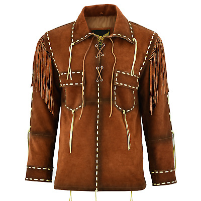 $129.98 • Buy Leatherick Mens Western Cowboy Suede Leather Shirt Brown Jacket With Fringes