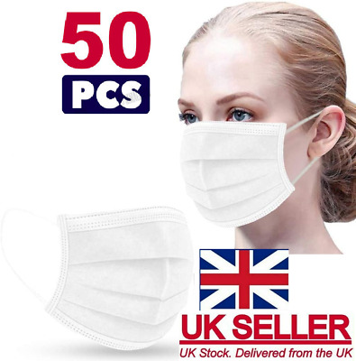 £4.99 • Buy 50 X Disposable White Face Masks 3 Ply Dental Non Medical Surgical Mask Covering