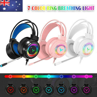 AU25.99 • Buy M10 Gaming Headset RGB LED Wired Headphones Stereo With Mic For One/PS4 PC Xbox