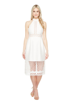 $ CDN106.22 • Buy Ivanka Trump Halter Dress With Lace Cutouts Ivory Size 12 1651