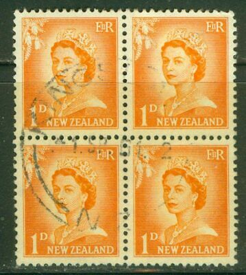 AU1 • Buy  New Zealand. Used Block. 1956. QEII. Redrawn. 1d.