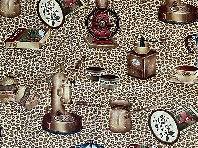 JOHN WOLF FABRIC~Coffee Beans~VINTAGE GRINDER~Tea Cup~PERCOLATOR~Brazil GoldBand • 68.41£