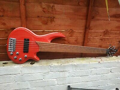 AU539.25 • Buy 6 String Fretless Bass Guitar Red Sparkle Finish
