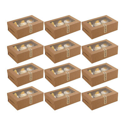 AU16.99 • Buy 12pcs Cupcake Box 6 Holes Window Face Muffin Wedding Party Gift Cup Cake Boxes
