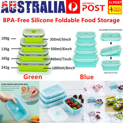 AU27.95 • Buy 4 Sizes Collapsible Lunch Box Cover Silicone Food Storage Containers Kitchen AU