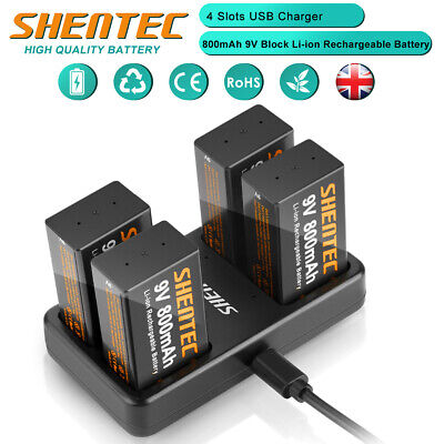 £20.85 • Buy 9 Volt Block PP3 Lthium Li-ion Rechargeable Battery & 4Slot Fast Battery Charger