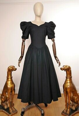 £100 • Buy Vintage Laura Ashley Dress Ball Gown Black Gothic Bow Puff Sleeves Victorian 14