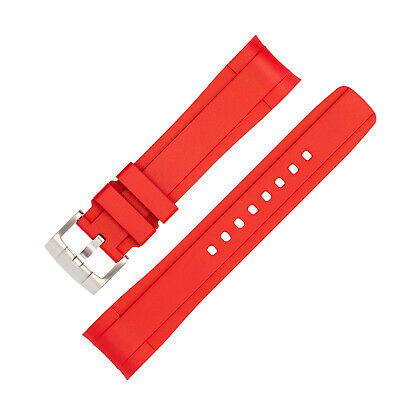 $ CDN230.12 • Buy ZEALANDE Curved-End Premium Rubber Diver Watch Strap In RED