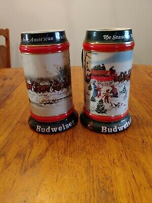 $ CDN12.44 • Buy Anheuser Busch Budweiser Beer Steins Lot Of 2; 1990 &1991