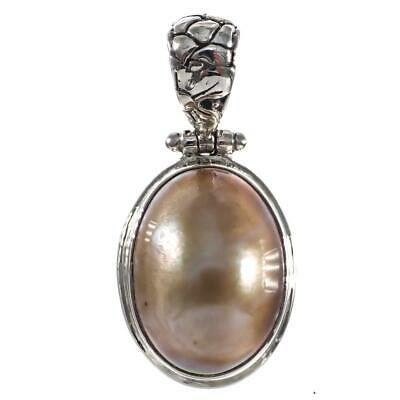 $29.95 • Buy 1 3/16  GOLD MABE PEARL 925 STERLING SILVER Pendant